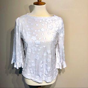 Micheal Kors 3/4 Sleeve White Flower Blouse Medium